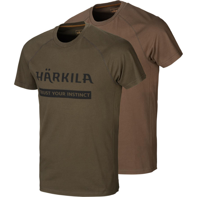 Harkila logo t shirts two pack in green and brown
