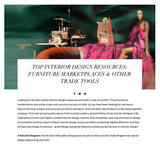 TOP INTERIOR DESIGN RESOURCES: FURNITURE MARKETPLACES & OTHER TRADE TOOLS