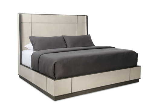 """Caracole 88"""" Modern Expressions - Repetition Wood Bed - King, Ash Taupe, Zinc Oxide-1"""