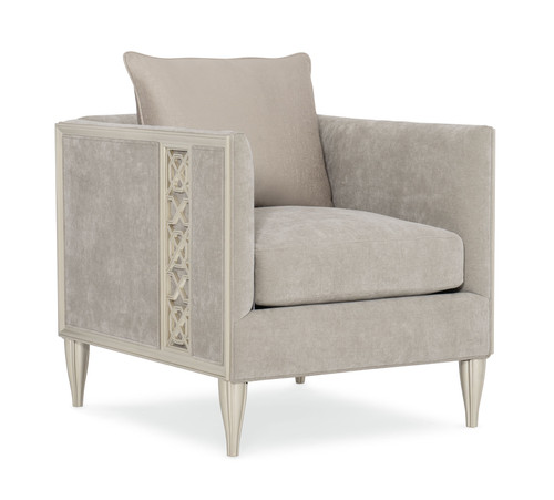 """34"""" Caracole Upholstery - Fret Knot Chair, Soft Silver Paint"""