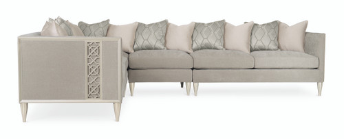 """Caracole 63"""" Caracole Upholstery - Fret Knot Laf Loveseat, Soft Silver Paint-3"""