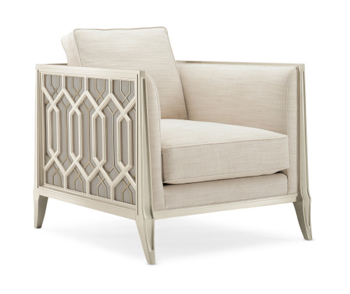 """39"""" Caracole Upholstery - Just Duet, Soft Silver Paint, Golden Glow"""