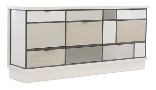 "78"" Modern Expressions - Repetition Buffet, Winter Haze, Mink Gray, Ash Taupe, Delicate Gray, Zinc Oxid"