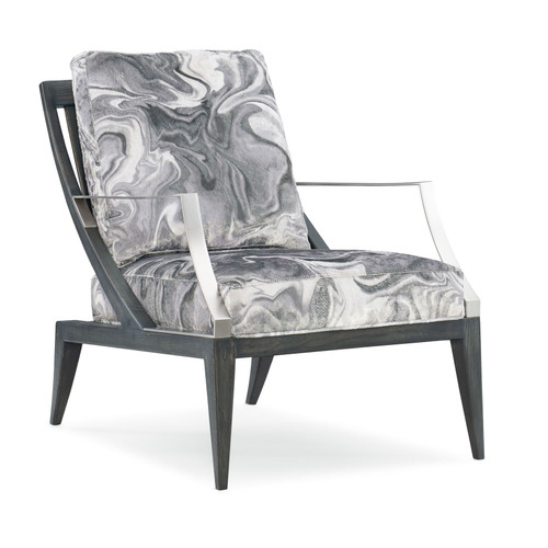 "31"" Modern Expressions - Repetition Chair, Charcoal Stain, Modern Nickel"