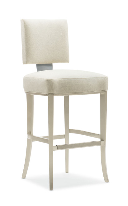 "44"" Caracole Classic - Reserved Seating Bar Stool, Lightly Brushed Chrome, Soft Silver Paint"