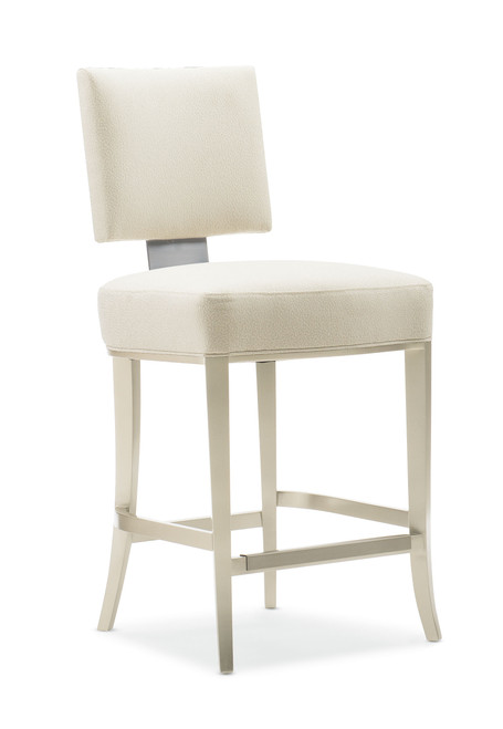 "40"" Caracole Classic - Reserved Seating Counter Stool, Lightly Brushed Chrome, Soft Silver Paint"