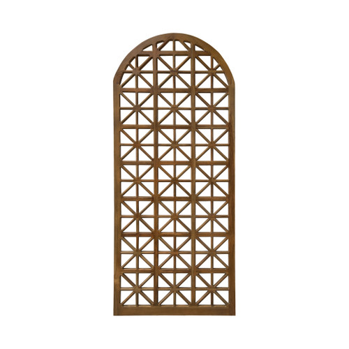 "83"" ELK Home Arched Teak Lattice Floor Screen, Traditional - 1"