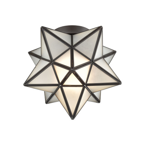 "10"" ELK Home Moravian Star 1-Light Flush Mount in Oil Rubbed Bronze with Frosted Glass, Transitional - 1"