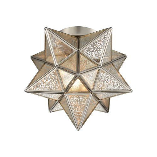"10"" ELK Home Moravian Star 1-Light Flush Mount in Polished Nickel with Silver Mercury Glass, Transitional - 1"