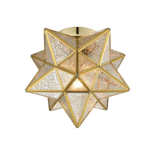 "10"" ELK Home Moravian Star 1-Light Flush Mount in Brass with Gold Mercury Glass, Transitional - 1"