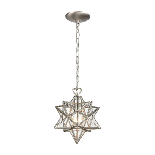 "10"" ELK Home Moravian Star 1-Light Mini Pendant in Polished Nickel with Clear Glass - Small, Transitional - 1"
