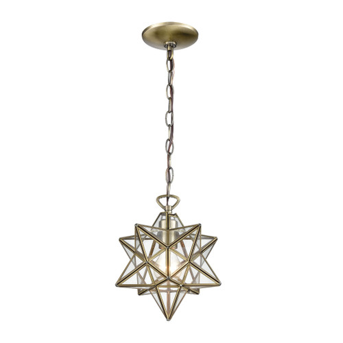 "10"" ELK Home Moravian Star 1-Light Mini Pendant in Antique Brass with Clear Glass - Small, Transitional - 1"