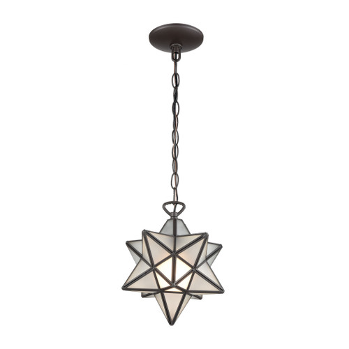 "10"" ELK Home Moravian Star 1-Light Mini Pendant in Oil Rubbed Bronze with Frosted Glass - Small, Transitional - 1"