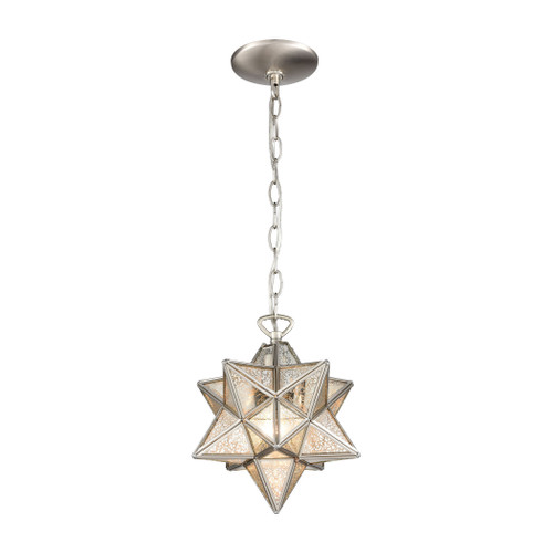 "10"" ELK Home Moravian Star 1-Light Mini Pendant in Polished Nickel with Silver Mercury Glass - Small, Transitional - 1"