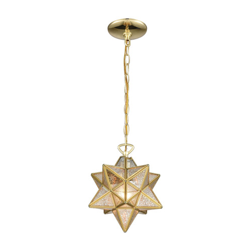 "10"" ELK Home Moravian Star 1-Light Mini Pendant in Brass with Gold Mercury Glass - Small, Transitional - 1"