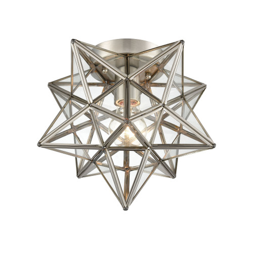 "10"" ELK Home Moravian Star 1-Light Flush Mount in Polished Nickel with Clear Glass, Transitional - 1"