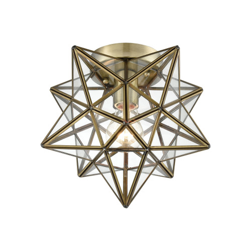 "10"" ELK Home Moravian Star 1-Light Flush Mount in Antique Brass with Clear Glass, Transitional - 1"