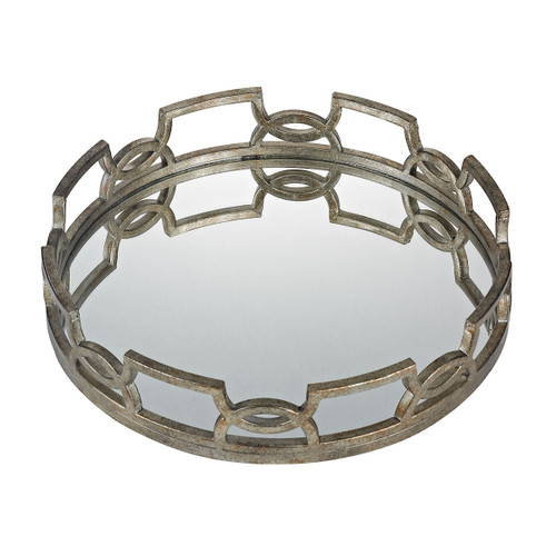 """20"""" ELK Home Hucknall Mirrored Tray in McComish Bronze with Iron Scrollwork, Transitional - 1"""