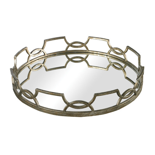"""16"""" ELK Home Hucknall Mirrored Tray in McComish Bronze with Iron Scrollwork, Transitional - 1"""