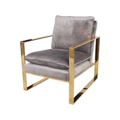 "33"" ELK Home Old Sport Gold Plated Stainless Steel, Foam, and Grey Velvet Armchair, Modern / Contemporary - 1"
