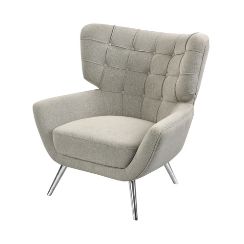 "34"" ELK Home Determinative Chair in Grey Linen and Silver, Transitional - 1"