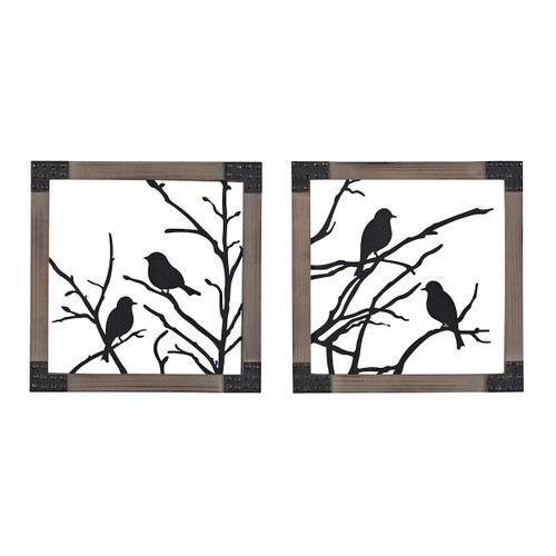 """Set of 2 ELK Home Birds On A Branch in Natural Wood Tone Frame, Traditional 14"""" - 1"""
