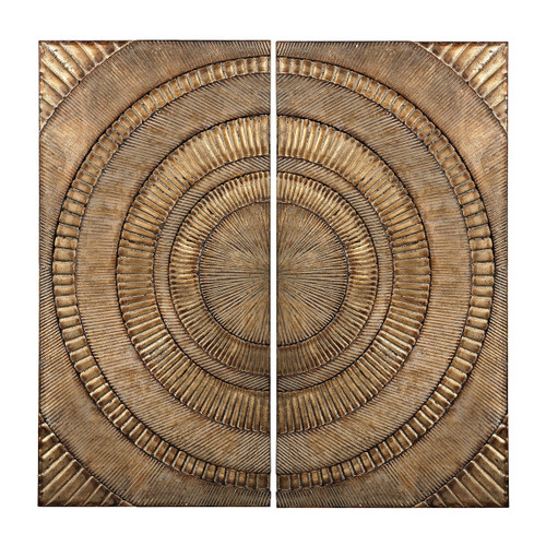 "Set of 2 ELK Home Abstract Metal Wall Panels, Transitional 36"" - 1"