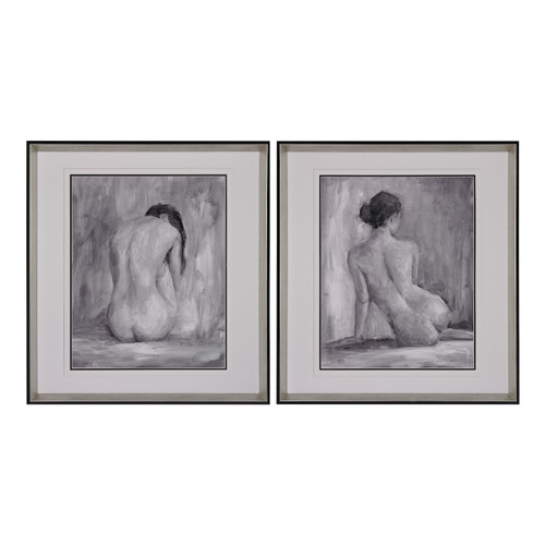 "27"" ELK Home Figure in Black and White I and Ii - Fine Art Print Under Glass, Modern / Contemporary - 1"