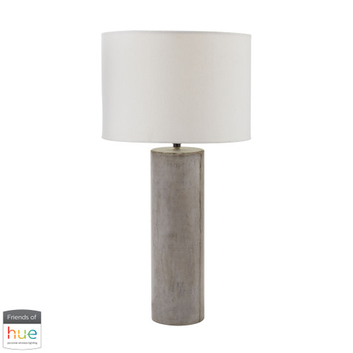"""29"""" ELK Home Cubix Round Desk Lamp in Natural Concrete - with Philips Hue LED Bulb/Dimmer, Transitional - 1"""