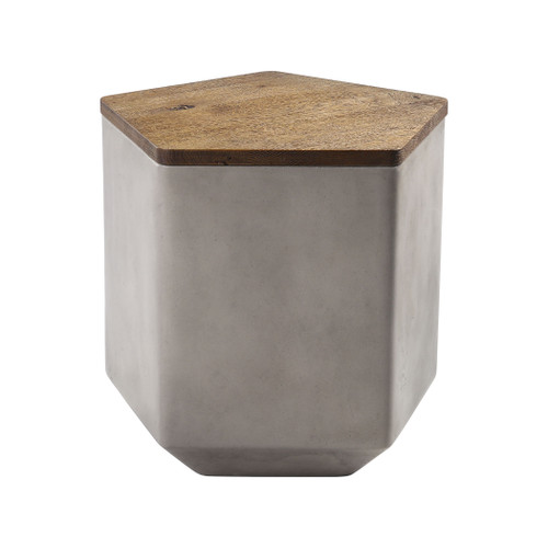 "19"" ELK Home Tay Storage Benchin Nut Oak and Polished Concrete with Acrylic, Transitional - 1"