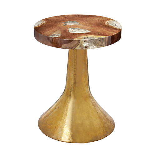 "20"" ELK Home Decorative Table with Teak and Resin Top with Hammered Gold Base, Transitional - 1"