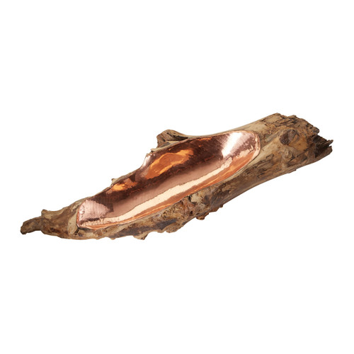 """20"""" ELK Home Teak Root Bowl with Copper Insert, Transitional - 1"""