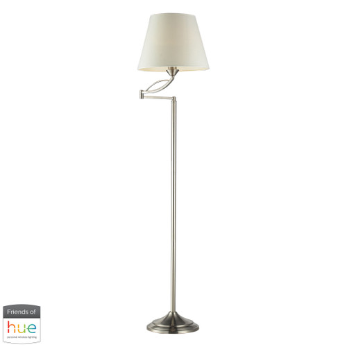 "56"" ELK Home Elysburg Floor Lamp in Satin Nickel - with Philips Hue LED Bulb/Dimmer, Traditional - 1"