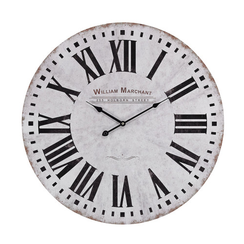 "24"" ELK Home Aged-White Wall Clock, Traditional - 1"