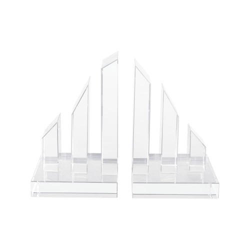 """8"""" ELK Home Degrees Crystal Bookends, Modern / Contemporary - 1"""