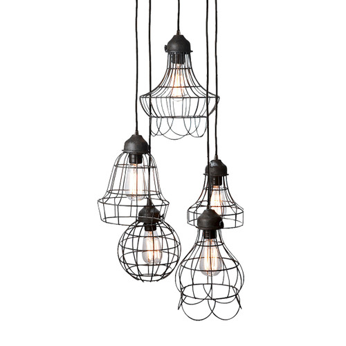 "10"" ELK Home Wire 5-Light Mini Pendant with Wire Cages in Five Shapes, Transitional - 1"