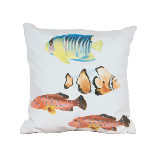 "20"" ELK Home Fish 1 Hand-painted Outdoor Pillow, Transitional - 1"