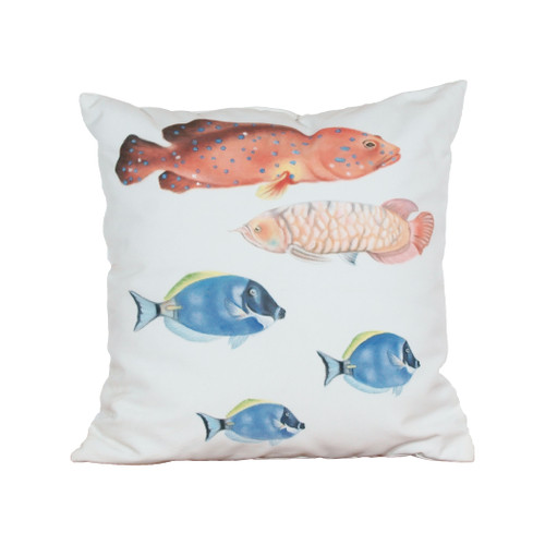 "20"" ELK Home Fish 2 Hand-painted Outdoor Pillow, Transitional - 1"