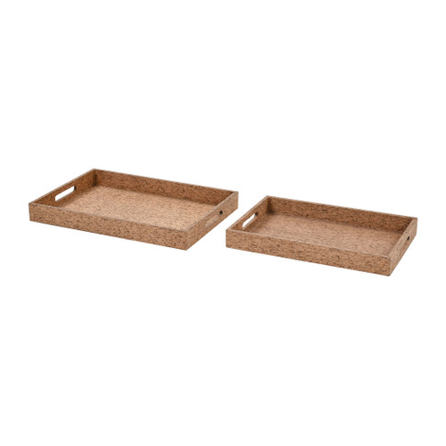 "Set of 2 ELK Home Cork Trays, Transitional 20"" - 1"