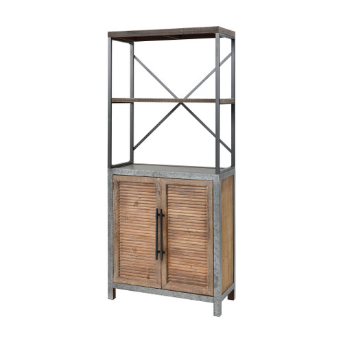 """72"""" ELK Home Badlands 2-Door Bookcase in Drifted Oak and Aged Iron, Transitional - 1"""