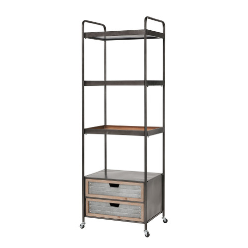 """69"""" ELK Home White park Bay Bookshelf in Natural Fir Wood and Galvanized Steel, Transitional - 1"""