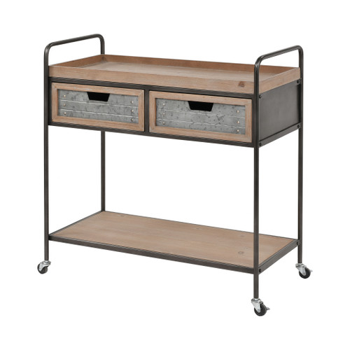 "34"" ELK Home Whitepark Bay Trolley in Natural Fir Wood and Galvanized Steel, Transitional - 1"