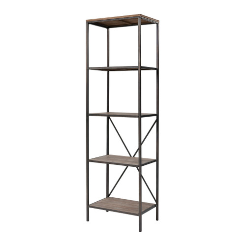 """79"""" ELK Home Whitepark Bay Bookshelf in Galvanized Steel and Natural Wood, Transitional - 1"""