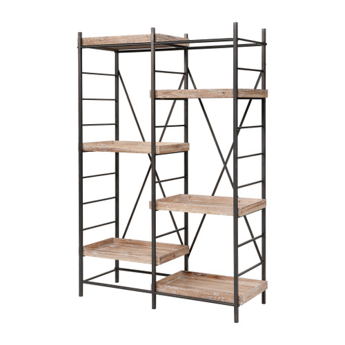 """67"""" ELK Home Tonka Staggered Shelving Unit in Natural Wood with White Antique and Bronze, Transitional - 1"""