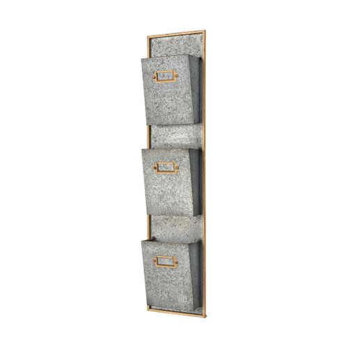 "34"" ELK Home Whitepark Bay Wall Organizer in Pewter and Gold, Transitional - 1"