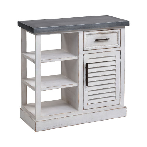 """32"""" ELK Home Ballintoy Cabinet in Antique White and Galvanized Steel - Small, Transitional - 1"""
