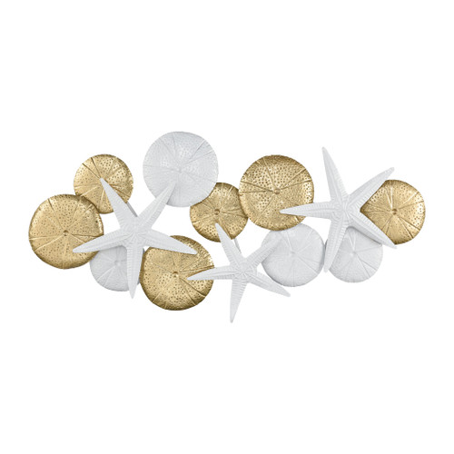 "44"" ELK Home Rock Pool Wall Decor in Gold and White, Transitional - 1"