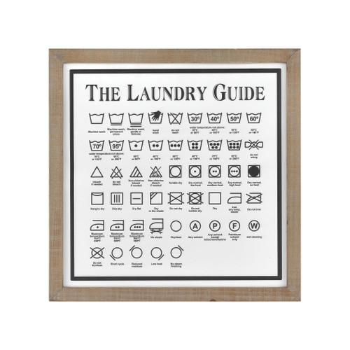 "20"" ELK Home Laundry Guide II Wall Decor in White and Black, Transitional - 1"