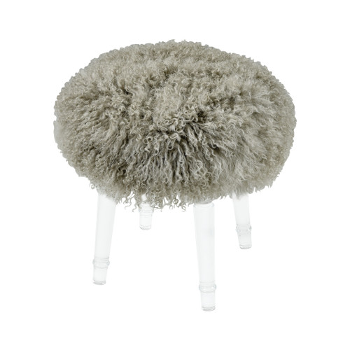 "18"" ELK Home Best in Show Light Grey Genuine Fur Mohair Stool with Clear Acrylic Legs, Modern / Contemporary - 1"