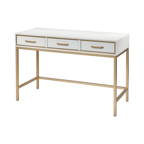 "47"" ELK Home Sands Point 3-Drawer Desk in Off-White and Gold, Modern / Contemporary - 1"